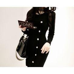 Marlangrouge - Metallic-Button Knit Bodycon Mini Dress