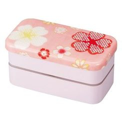 Hakoya - Hakoya Nunobari Rectangular 2 Layers Lunch Box S Yume Sakura (Pink)