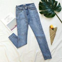 Honeydew - 钉珠窄身牛仔裤
