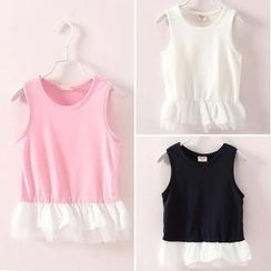 Seashells Kids - Kids Lace Trim Sleeveless T-Shirt