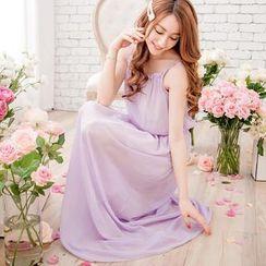 Tokyo Fashion - Ruffled Chiffon Sleeveless Maxi Dress