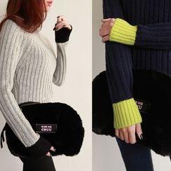 NIPONJJUYA - Contrast-Trim Rib-Knit Top
