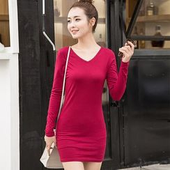 Jaune Dream - Long-Sleeve Plain T-Shirt Dress