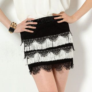 59 Seconds - Sequined Fringe Mini Skirt