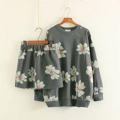 Mushi - Set: Floral Print Pullover + Mini Skirt