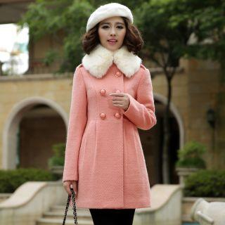 Mooiee - Faux-Fur Collar Double-Breasted Coat