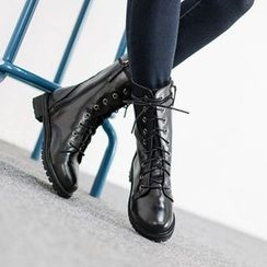VIVIER - Lace-Up Faux-Leather Boots