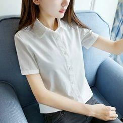 Tangi - Plain Short-Sleeve Blouse