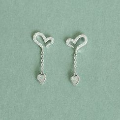 Love Generation - Rhinestone Heart Drop Earrings