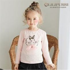 LILIPURRI - Girls Bow Bunny Print T-Shirt