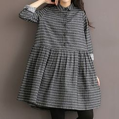 Jolly Club - Long-Sleeve Check A-Line Dress