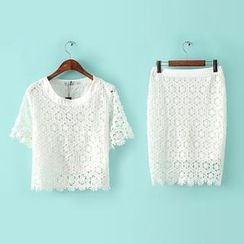 RainbowDay - Set: Short-Sleeve Crochet Top + Skirt