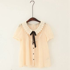 11.STREET - Lace Collar Short-Sleeve Blouse
