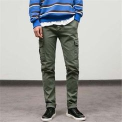 STYLEMAN - Cargo-Pocket Trim Pants