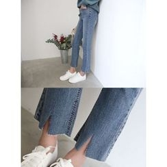 hellopeco - Slit-Detail Washed Jeans