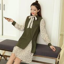 Mandalle - Bow Mock Two-piece Long-Sleeve Dress