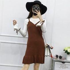 Be Bonita - Mock Two-Piece Ruffled Dress