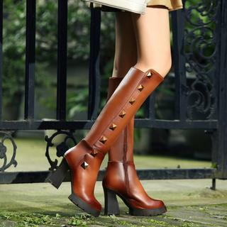 JY Shoes - Genuine Leather Studded Platform Heeled Boots