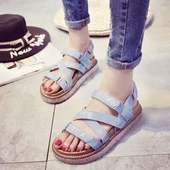Laceuplux - Platform Denim Roman Sandals