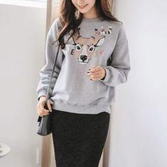 JUSTONE - Brushed-Fleece Lined Deer Print Sweatshirt