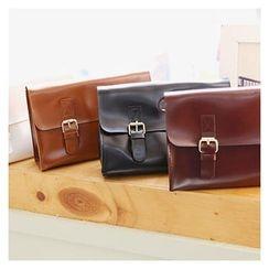 Sechuna - Faux-Leather Buckled Shoulder Bag