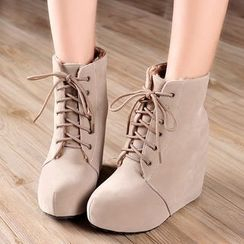 Pretty in Boots - Hidden Wedge Lace-Up Short Boots