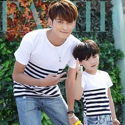 Igsoo - Family Short-Sleeve Stripe T-shirt