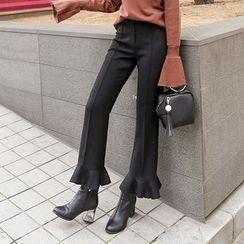 PPGIRL - Frilled-Hem Dress Pants