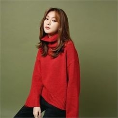 Styleberry - Turtle-Neck Dip-Back Sweater