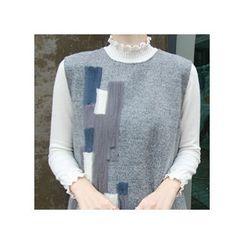 LEELIN - Frilled-Trim Wool Blend Knit Top