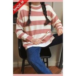 MICHYEORA - Drop-Shoulder Striped Knit Top