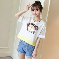 Colorful Shop - Short-Sleeve Applique T-Shirt