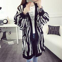 FR - Zebra Print Chunky Knit Long Cardigan