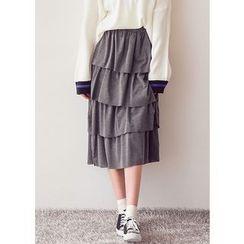 J-ANN - Band-Waist Long Tiered Skirt