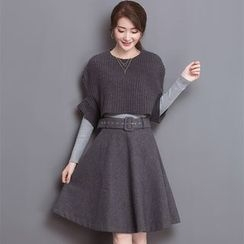 chic n' fab - 套装: 针织套衫 + 中袖毛衣 + A字裙
