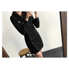 UPTOWNHOLIC - Single-Breasted Notched-Lapel Dress