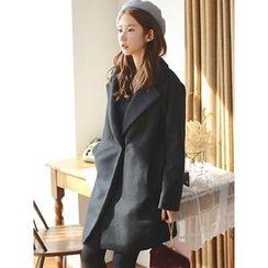 LOLOten - Wide-Lapel Snap-Button Wool Blend Coat
