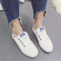 kokoin - Stripe Trim Canvas Sneakers