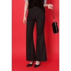 migunstyle - Flat-Front Boot-Cut Pants