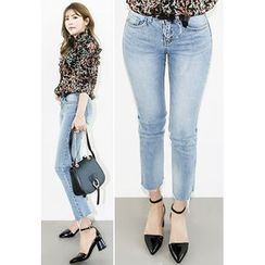INSTYLEFIT - Washed Straight-Cut Jeans