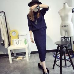 Qimi - Set: Long-Sleeve Knit Top + Midi Knit Skirt