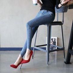 DABAGIRL - Cutout-Hem Washed Skinny Jeans