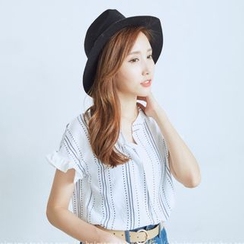 BAIMOMO - Patterned Short-Sleeve Blouse