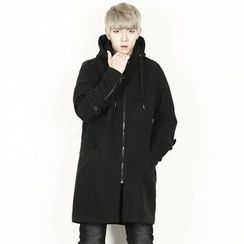 Rememberclick - Wool Blend Zip-Up Long Coat