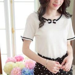 Tokyo Fashion - Bow-collar Short-Sleeve Knit Top