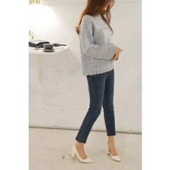 CHERRYKOKO - Scallop-Edge Pointelle-Knit Top