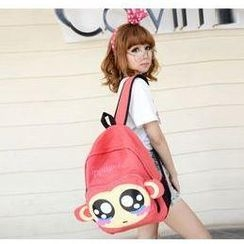 Miss Sweety - Ear-Accent Monkey-Print Backpack