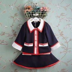 Kidora - 儿童套装: 撞色外套 + A字短裙