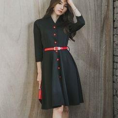 Angel Shine - Button Down 3/4 Sleeve A-Line Dress