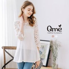 Tokyo Fashion - Lace Panel 3/4-Sleeve Top